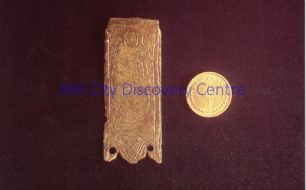 Medieval Bronze Strap End with Decoration