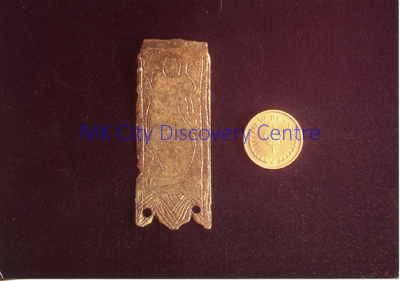Medieval Bronze Strap End with Decoration | © Milton Keynes Development Corporation, Crown Copyright. Licensed under the Open Government Licence v3.0