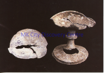 Thirteenth Century Pewter Chalice and Paten - Great Linford Churchyard | © Milton Keynes Development Corporation, Crown Copyright. Licensed under the Open Government Licence v3.0