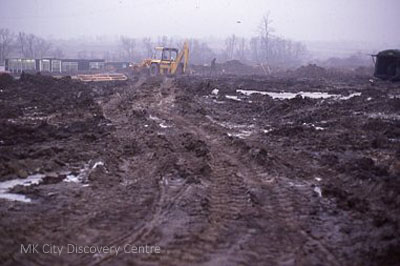 Muddy construction site | Contains public sector information licensed under the Open Government Licence v3.0.