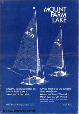 Mount Farm Lake - Sailing | © Milton Keynes Development Corporation, Crown Copyright. Licensed under the Open Government Licence v3.0