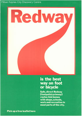 Redway is the best way on foot or bicycle | © Milton Keynes Development Corporation, Crown Copyright. Licensed under the Open Government Licence v3.0